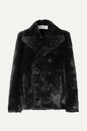 SAINT LAURENT Double-breasted faux fur jacket