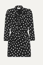 SAINT LAURENT Pussy-bow printed crepe mini dress