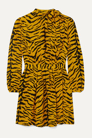 SAINT LAURENT Zebra-print crepe mini dress