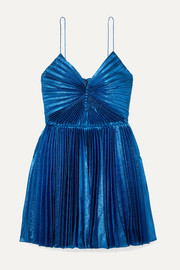 SAINT LAURENT Pleated silk-blend lamé mini dress