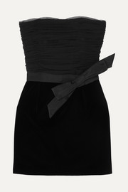 SAINT LAURENT Strapless bow-detailed ruched organza and velvet mini dress