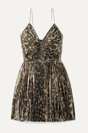 SAINT LAURENT Pleated leopard-print silk-blend lamé mini dress