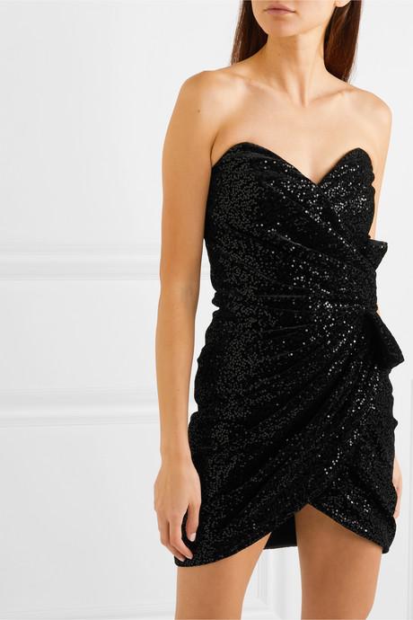 Strapless ruched sequined velvet mini dress