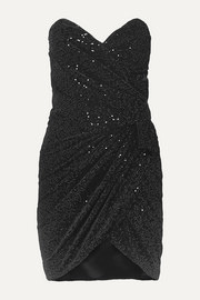 SAINT LAURENT Strapless ruched sequined velvet mini dress