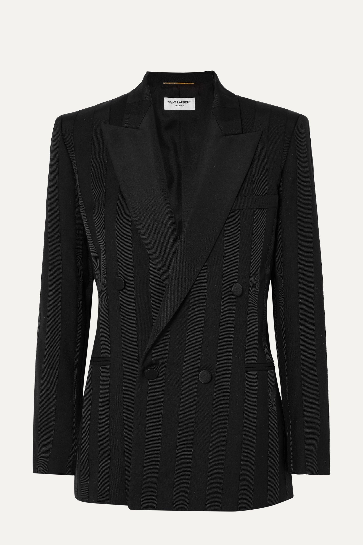 SAINT LAURENT Double-breasted grosgrain-trimmed wool blazer