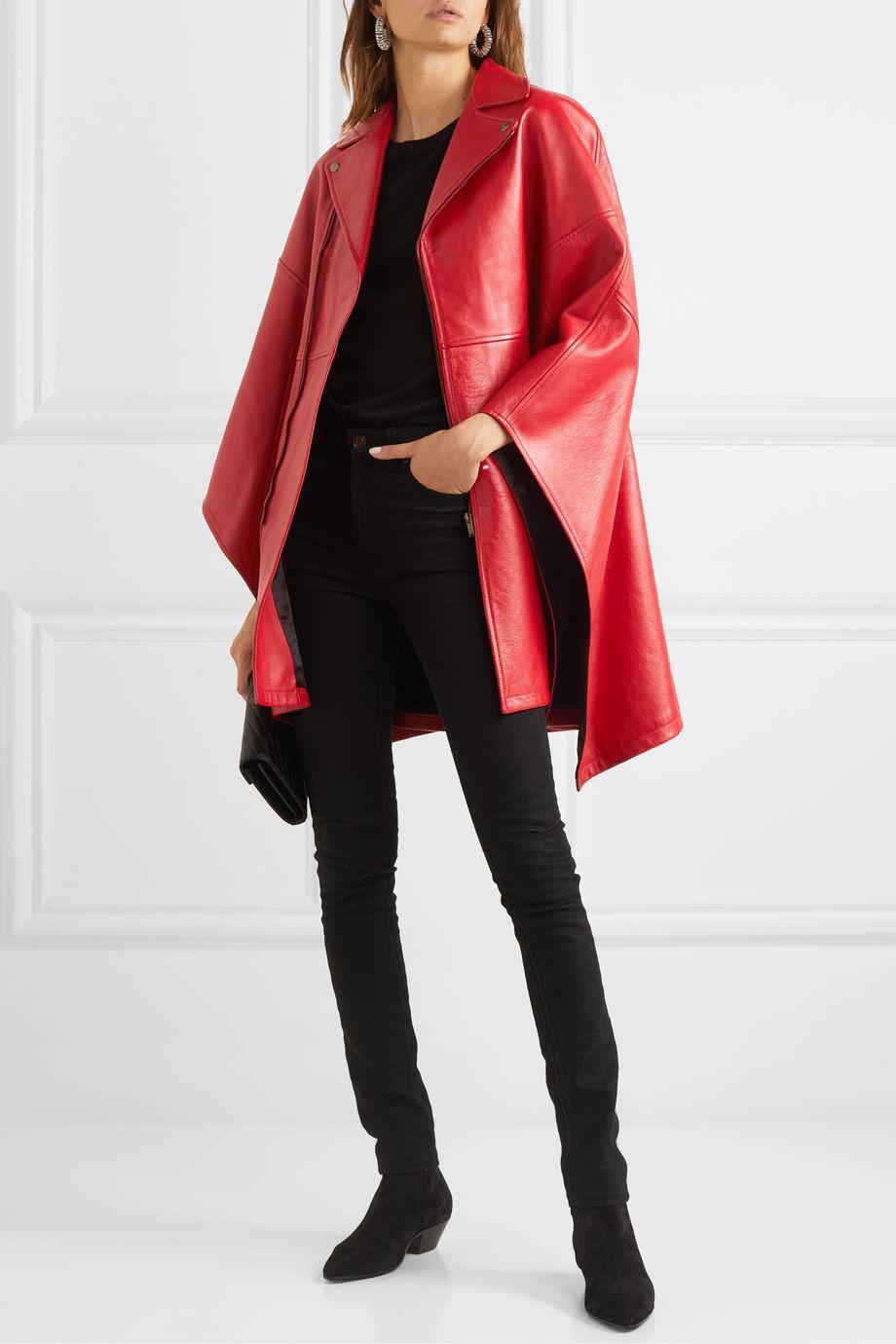 SAINT LAURENT Asymmetric leather cape