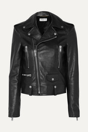 SAINT LAURENT Printed leather biker jacket
