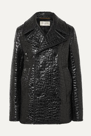 SAINT LAURENT Double-breasted croc-effect faux leather jacket