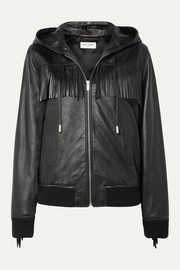 SAINT LAURENT Hooded fringed wool-trimmed leather jacket