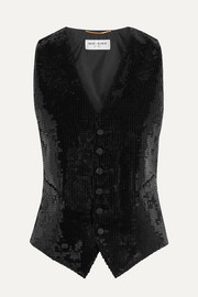 SAINT LAURENT Satin and sequined wool vest