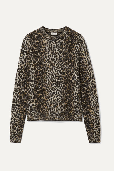 Pullover Aus Jacquard Strick Mit Leopardenprint by Saint Laurent