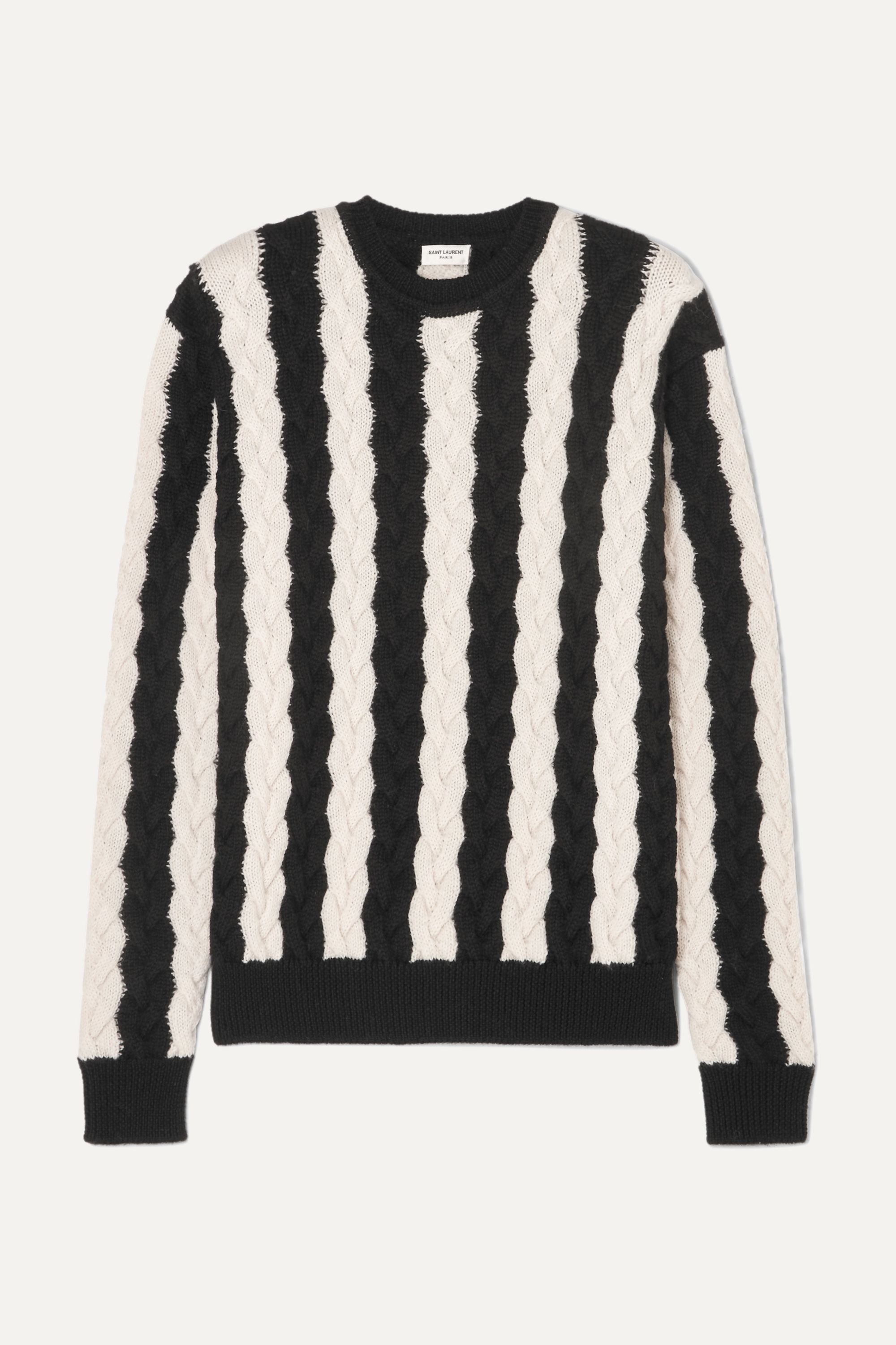 Striped cable knit wool sweater