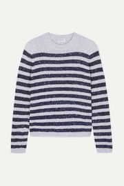 SAINT LAURENT Striped sequined stretch-knit sweater
