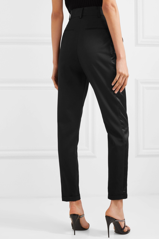 SAINT LAURENT Striped wool-twill slim-leg pants