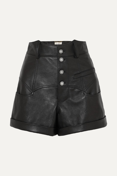 Saint Laurent High-waisted Leather Rock-and-roll  Shorts In Black