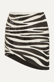 SAINT LAURENT Asymmetric zebra-print sequined crepe mini skirt