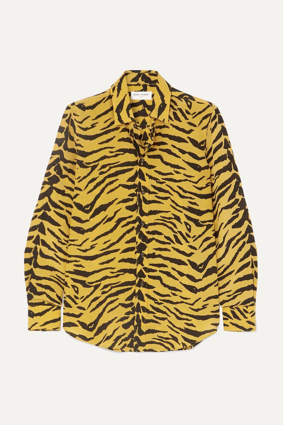 SAINT LAURENT Zebra-print silk-crepe shirt