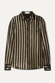 SAINT LAURENT Striped metallic silk-blend chiffon shirt