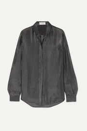 SAINT LAURENT Striped metallic fil coupé silk-blend chiffon shirt