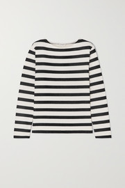 SAINT LAURENT Striped loopback cotton-jersey sweatshirt