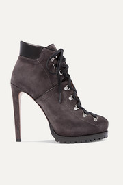 Alaïa 130 leather-trimmed suede ankle boots