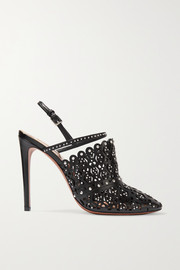 110 studded laser-cut leather slingback pumps
