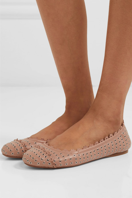 Eyelet-embellished leather ballet flats