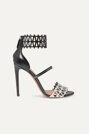 Alaïa 105 studded laser-cut two-tone leather sandals