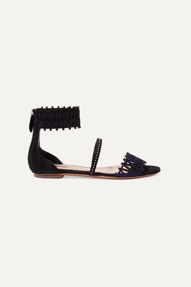 Studded Laser Cut Two Tone Suede Sandals by Alaïa