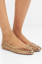 Studded laser-cut metallic leather ballet flats