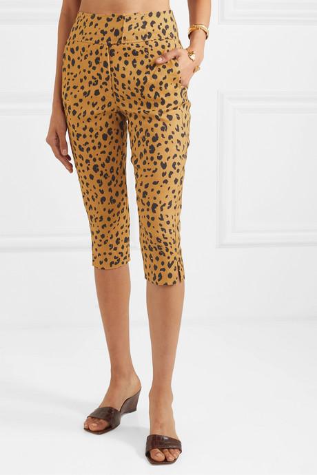 Cropped leopard-print Tencel-blend slim-leg pants