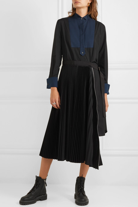 Belted pleated poplin and piqué midi dress