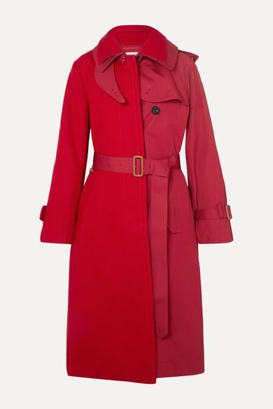 Sacai Coats Melton wool and cotton-gabardine trench coat