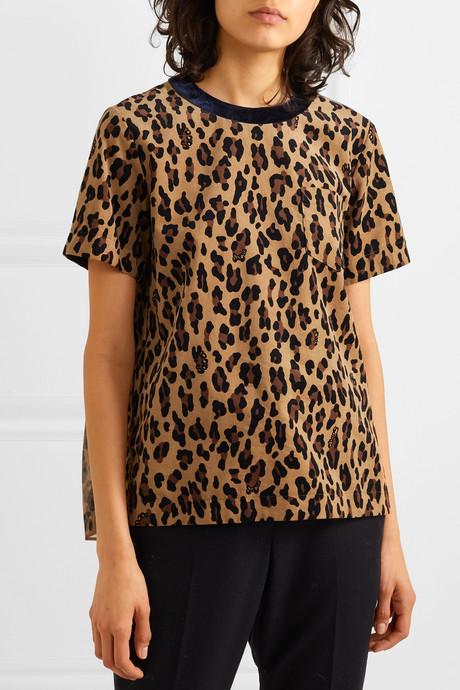 Leopard-print cotton-corduroy and crepe T-shirt