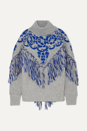 Tasseled cape-effect wool-blend jacquard turtleneck sweater