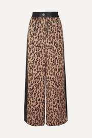 Sacai Leopard-print satin and chiffon wide-leg pants