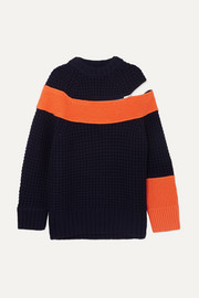 Sacai Color-block knitted sweater