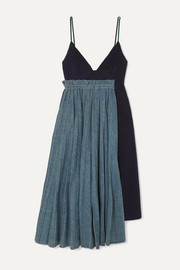 Sacai Frayed pleated denim and wool-felt midi dress
