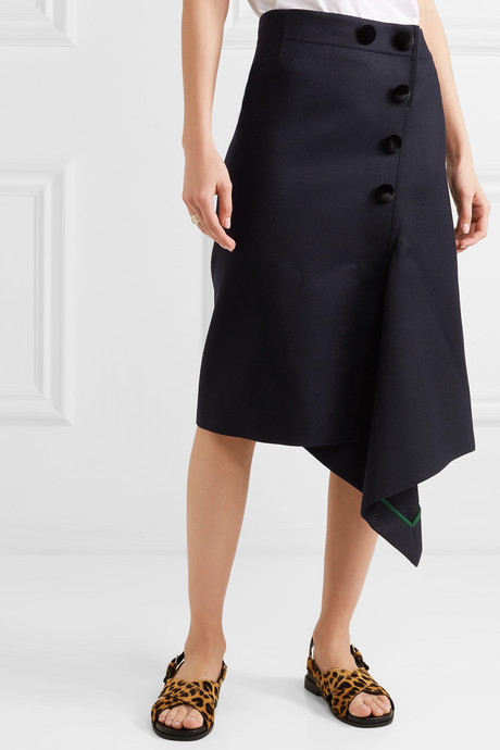 Melton asymmetric button-embellished wool skirt