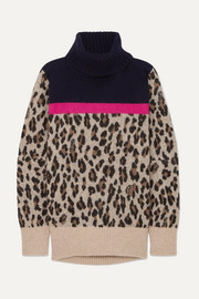 Sacai Leopard-intarsia knitted sweater