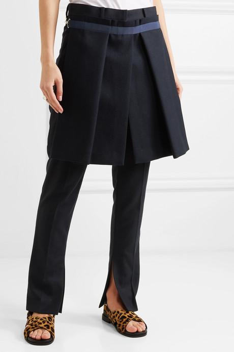 Melton convertible wool-blend slim-leg pants