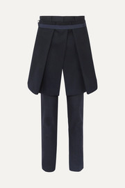 Melton convertible wool-blend slim-leg pants