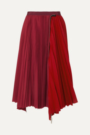 Sacai Melton pleated wool-blend and satin midi skirt