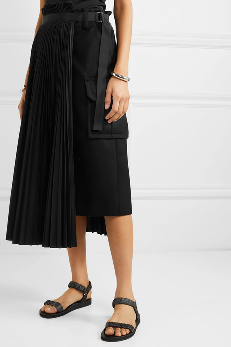 Belted pleated wool and crepe midi skirt