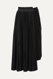 Sacai Belted pleated wool and crepe midi skirt