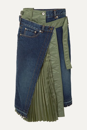 Sacai Paneled denim and shell midi skirt