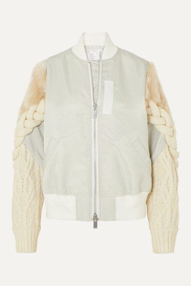 Sacai Jackets Shell, cable-knit wool-blend and faux fur bomber jacket