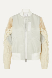 Sacai Shell, cable-knit wool-blend and faux fur bomber jacket