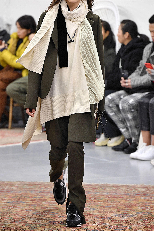 Sacai Asymmetric velvet-trimmed paneled chiffon and satin blouse