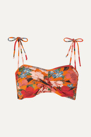 Twisted floral-print bikini top